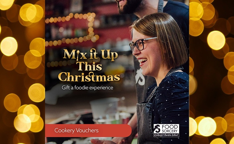 image of Christmas advert for cookery school foodie gift vouchers Mix it up
