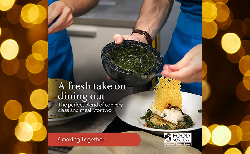 image of Christmas advert for cookery school foodie gift vouchers cooking together