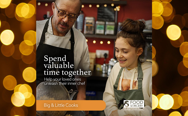 image of Christmas advert for cookery school foodie gift vouchers Big little cook