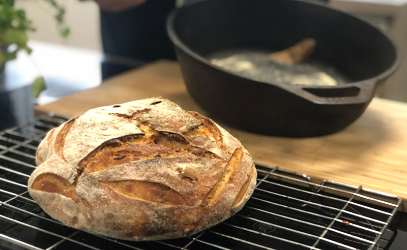 image of sourdough cooling on a rack at the cookery school Didsbury