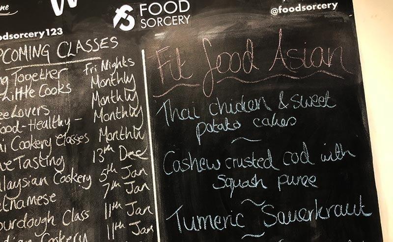 fit food healthy eating image of black board