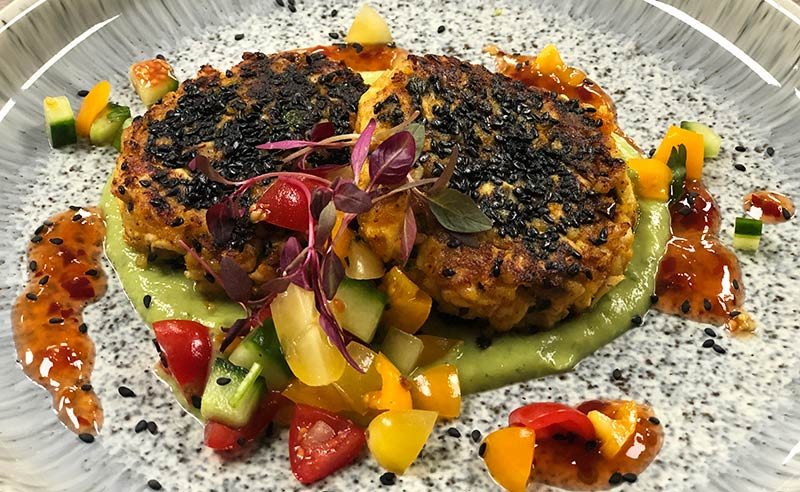 image of Thai chicken and sweet potato cake at fit food cookery classes