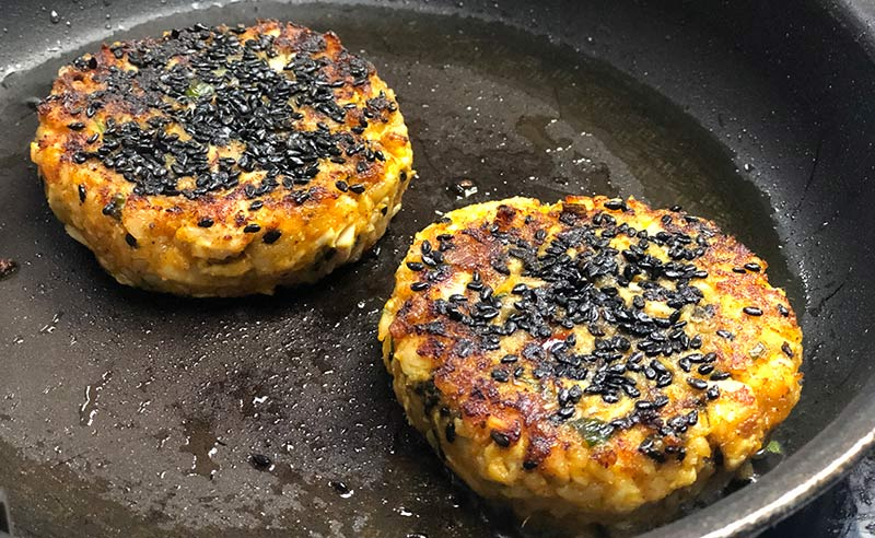 image of potato cakes in a pan at the cookery school manchester