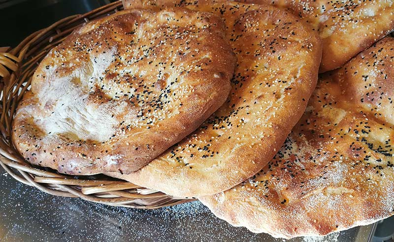 image of flat bread in a basket