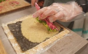 image of rolling sushi vEgan Fit Food class at the cookery school manchester