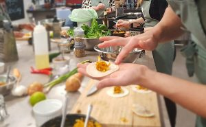 image of filling gyozos at the cookery school manchester near wilmslow cheshire
