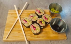 image of vegan quinoa healthy eating sushi at the cookery school near wilmslow in cheshire