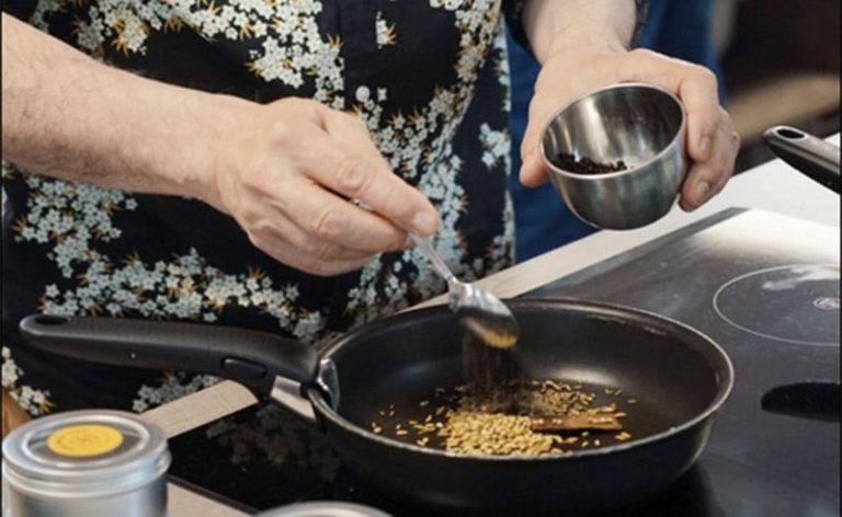 iamge of roasting spices in a pan cooking school manchester near wilmslow cheshire