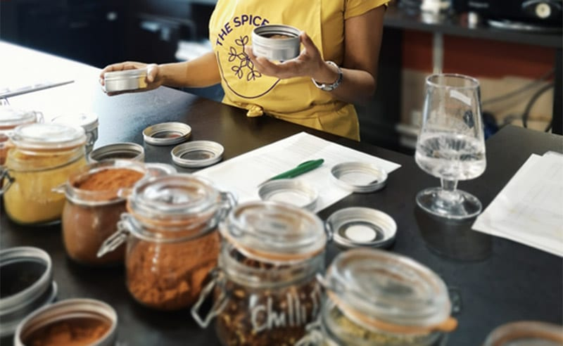 image of learning to roast spices at the cookery school near wimslow cheshire in manchester