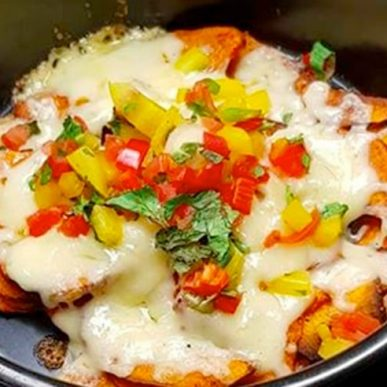 image of sweet potato natchos with salsa