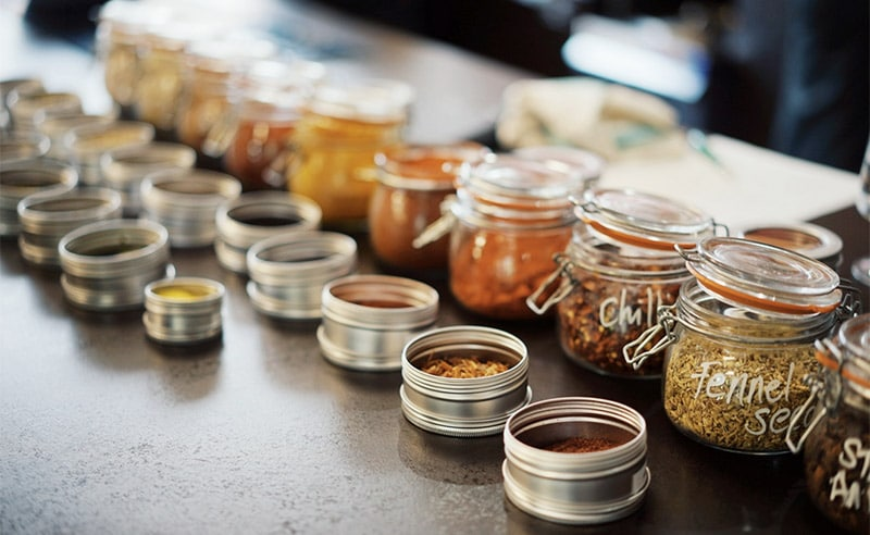 image of spices lined up cooking school manchester near wilmslow cheshire