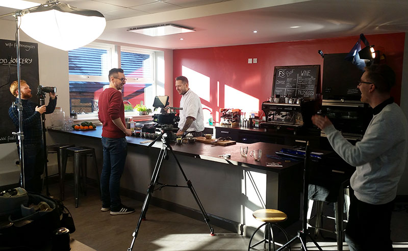 image of production coolbox filming food at the cookery shcool manchester