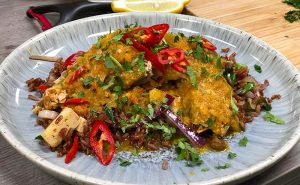 Aubergine Katsu Curry with Stir-fried Red Rice