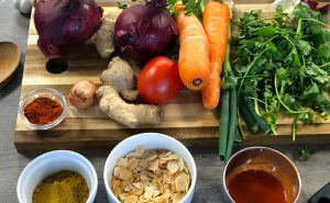 image of ingredients for katsu curry at the cookery school