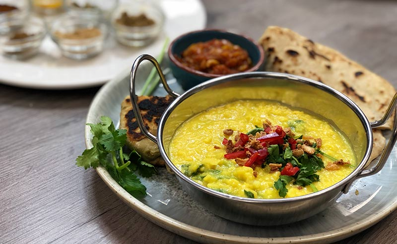 image of dhal made at the cookery school near Wimslow in Cheshire online zoom class