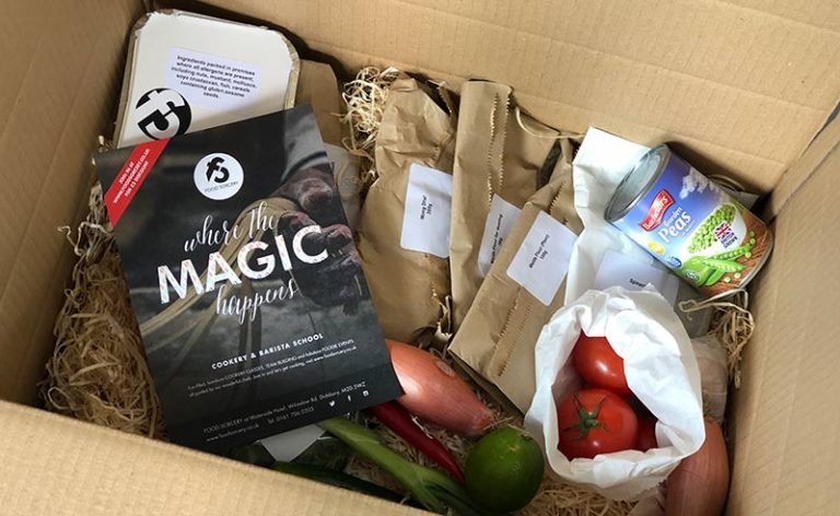image of box of ingredients ready for an online zooom cookery class