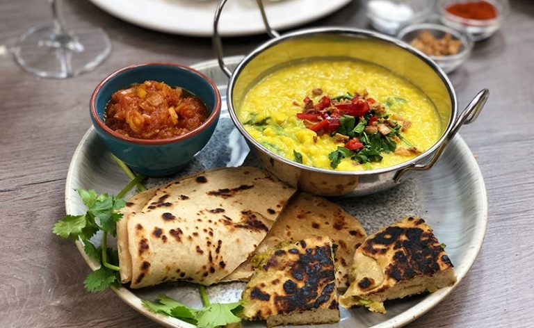 image of Indian meal made online during a zoom cookery class Manchester
