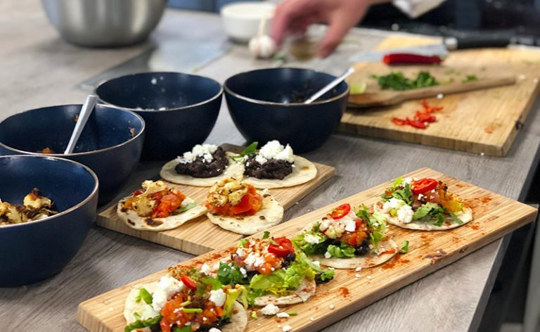 image of Mexican tacos made during an online cookery class at the cookery school Manchester