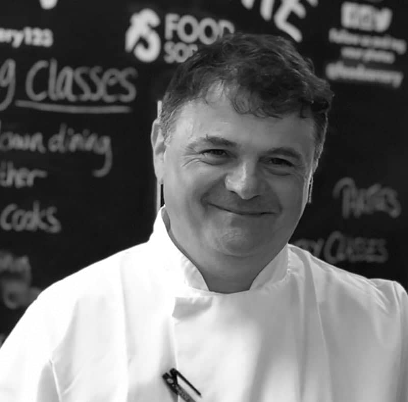 image of George Phelan chef at the cookery school Manchester near wilmslow Cheshire