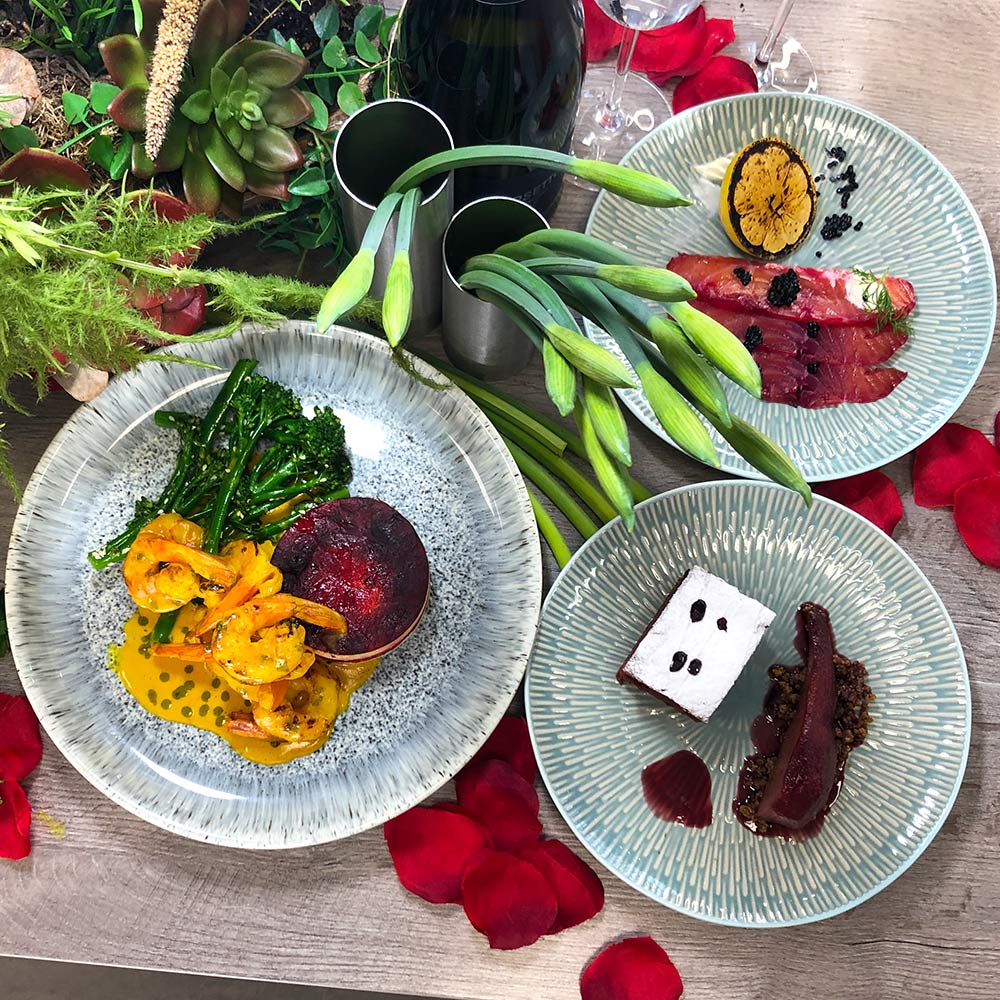 image of valentines fine dining meal made at the cookery school
