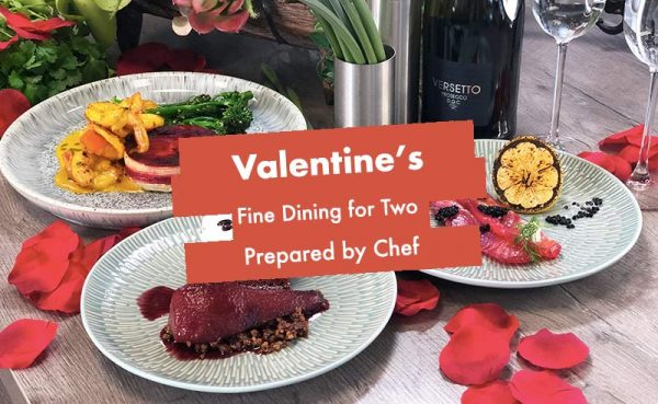 image of Valentines meal in a box made by chef at the cookery school