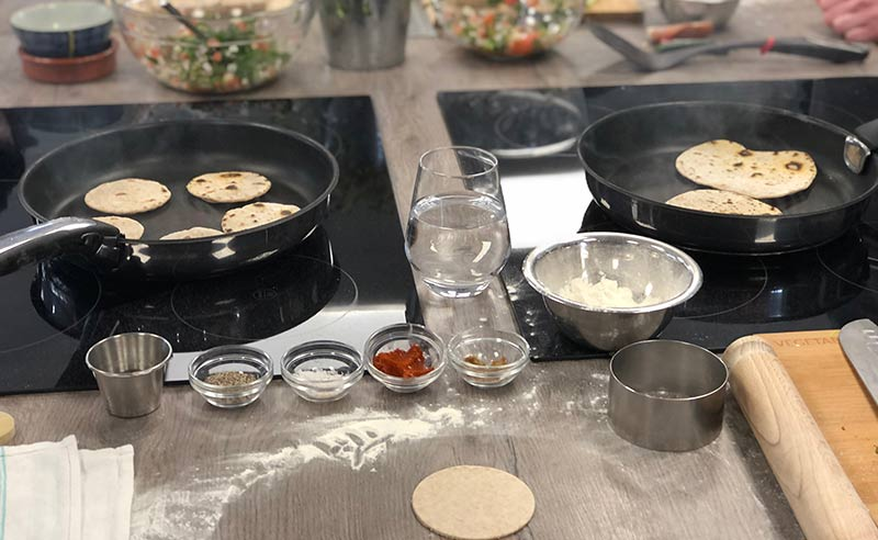 image of flat bread making at the cookery school near wilmslow cheshire