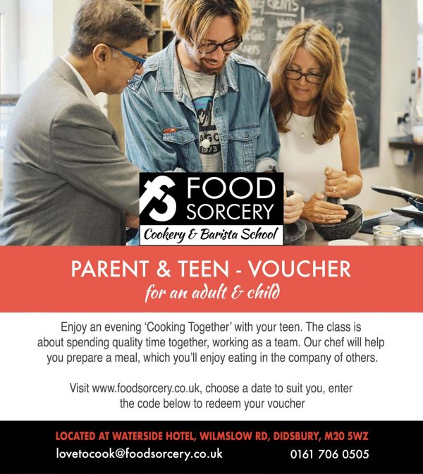 image of cookery gift vouchers for parent & teenager cookery class at Food Sorcery near Wilmslow Cheshire
