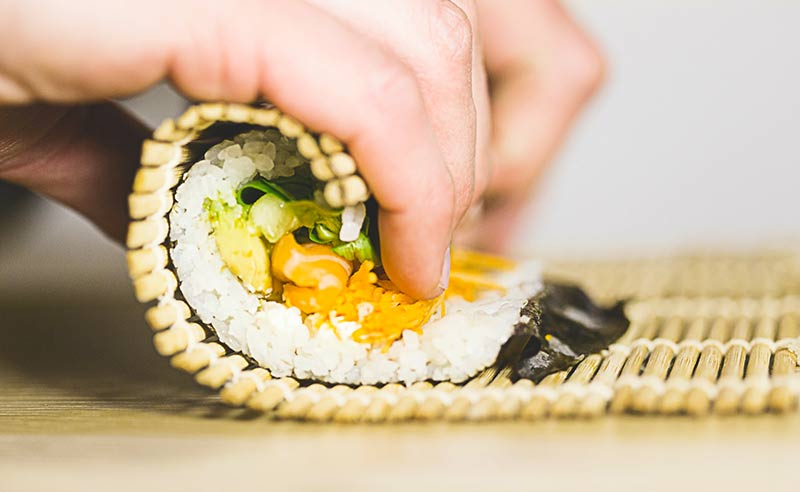 image of sushi making cookery class at the cookery school didsbury near wilmslow Cheshire